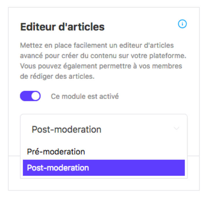 Type of moderation by module