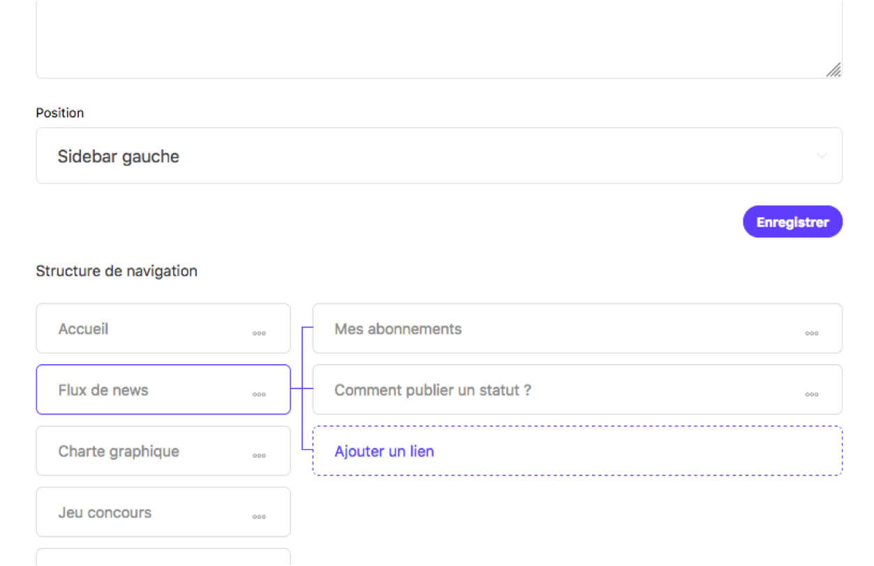 Modification de la navigation en admin